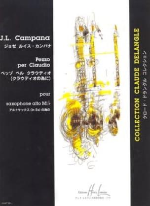 Jose Luis Campana - Pezzo Per Claudio - Partition - di-arezzo.fr