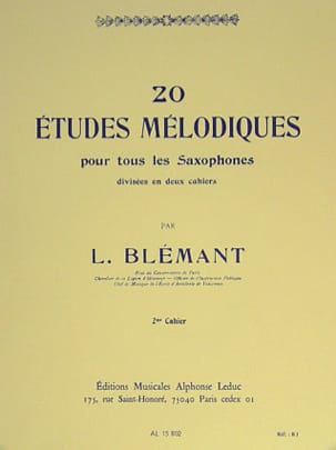 L. Blémant - 20 Etudes Mélodiques Volume 2 - Partition - di-arezzo.fr