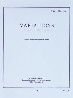 Henri Busser - Variations Opus 53 - Partition - di-arezzo.fr