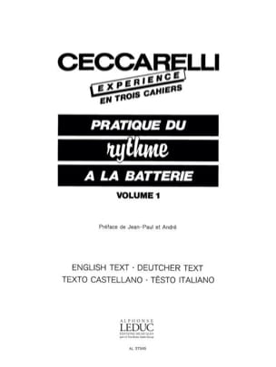André Ceccarelli - Experience - Pratique du Rythme A la Batterie Volume 1 - Partition - di-arezzo.fr