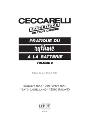 André Ceccarelli - Experience - Drum Practice Volume 2 - Sheet Music - di-arezzo.co.uk