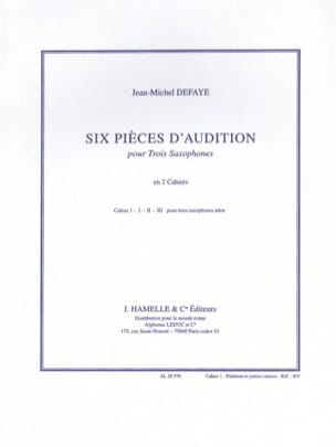 Jean-Michel Defaye - Six Pièces D' Audition Volume 1 - Partition - di-arezzo.fr