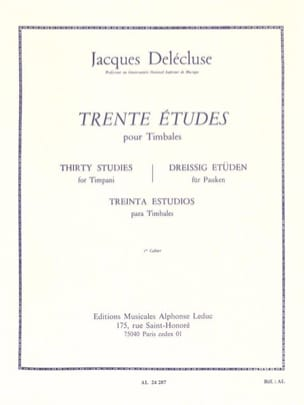 Jacques Delécluse - 30 Studies Volume 1 - Sheet Music - di-arezzo.co.uk