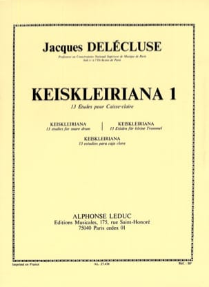 Jacques Delécluse - Keiskleiriana Volume 1 - 13 Studies - Sheet Music - di-arezzo.co.uk