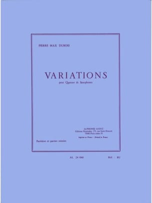 Pierre-Max Dubois - Variations - Partition - di-arezzo.fr