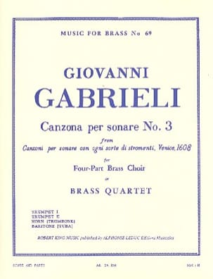 Canzona Per Sonare N° 3 Giovanni Gabrieli Partition laflutedepan