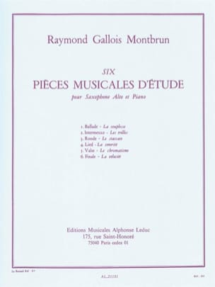 6 Pièces musicales d'étude Raymond Gallois-Montbrun laflutedepan