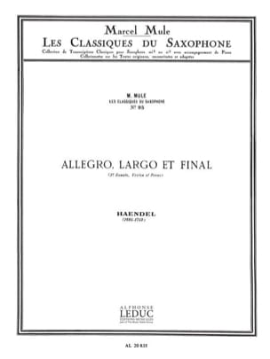 Allegro, largo et final 3e sonate violon et piano HAENDEL laflutedepan