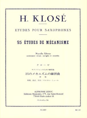 Hyacinthe Eléonore Klosé - 25 Mechanism Studies - Sheet Music - di-arezzo.co.uk