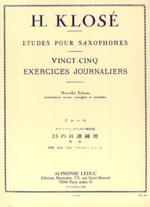 Hyacinthe Eléonore Klosé - 25 Daily Exercises - Sheet Music - di-arezzo.co.uk