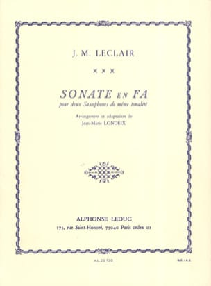 Jean-Marie Leclair - Sonate en Fa - Partition - di-arezzo.fr