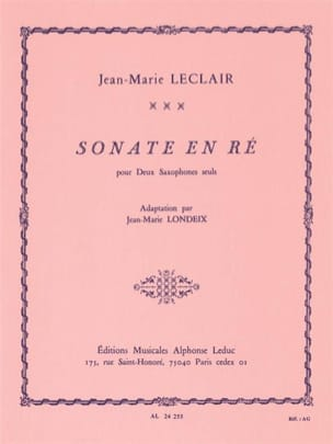 Sonate en Ré LECLAIR Partition Saxophone - laflutedepan