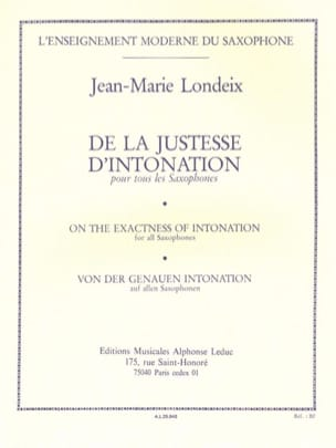 Jean-Marie Londeix - Correctness of intonation - Sheet Music - di-arezzo.co.uk