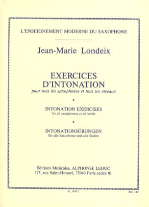 Jean-Marie Londeix - Exercices D' Intonation - Partition - di-arezzo.fr