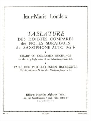 Jean-Marie Londeix - Tablatura de digitación comparada - Partition - di-arezzo.es