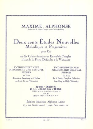 Maxime-Alphonse - 200 Etudes Nouvelles Volume 1 - 70 Very Easy and Easy Studies - Sheet Music - di-arezzo.com