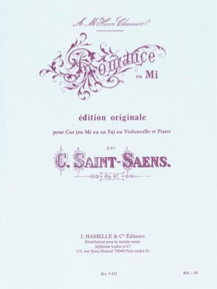 Camille Saint-Saëns - Romance in E opus 67 - Sheet Music - di-arezzo.co.uk