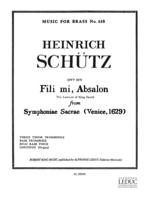 Heinrich Schütz - Fili Mi, Absalon - Partition - di-arezzo.fr