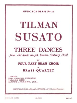 Tielman Susato - Three dances - Partition - di-arezzo.fr