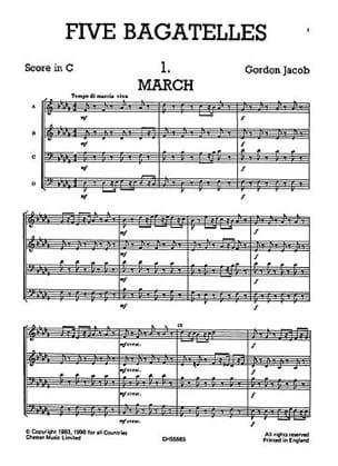 Gordon Jacob - Five 5 Bagatelles - Junior Just Brass N° 14 - Partition - di-arezzo.fr