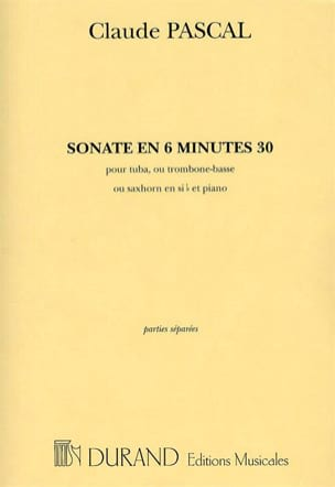 Claude Pascal - Sonata In 6 Minutes 30 - Sheet Music - di-arezzo.co.uk