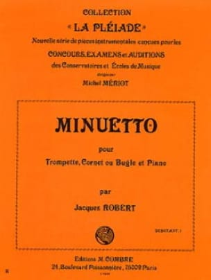 Minuetto Jacques Robert Partition Trompette - laflutedepan