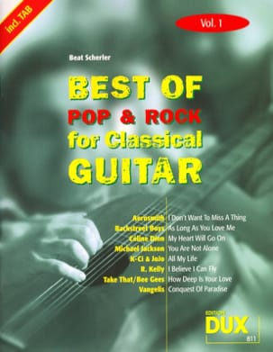 Best of pop & rock for classical guitar volume 1 - laflutedepan.com
