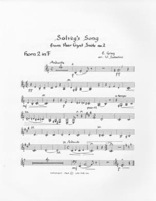 Solvejg's Song Peer Gynt Suite GRIEG Partition Cor - laflutedepan