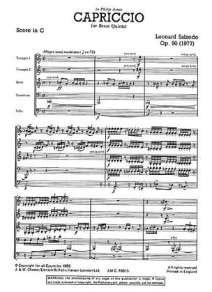 Leonard Salzedo - Capriccio Opus 90 - Just Brass N° 54 - Partition - di-arezzo.fr