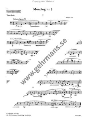 Monolog 9 Erland Von Koch Partition Tuba - laflutedepan