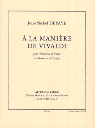 A la Manière de Vivaldi Jean-Michel Defaye Partition laflutedepan