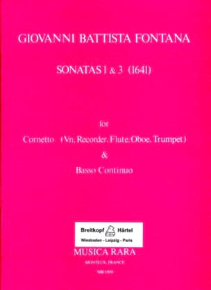 Sonatas 1 & 3 1641 - Giovanni Battista Fontana - laflutedepan.com
