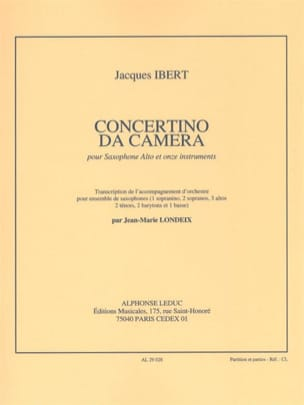 Jacques Ibert - Concertino Da Camera - Partition - di-arezzo.co.uk