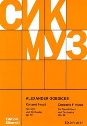 Concerto En Fa Mineur Opus 40 - Alexander Goedicke - laflutedepan.com