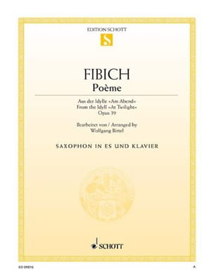 Poème Zdenek Fibich Partition Saxophone - laflutedepan