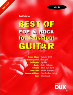 - Best of pop & rock for classical guitar volume 6 - Partition - di-arezzo.fr