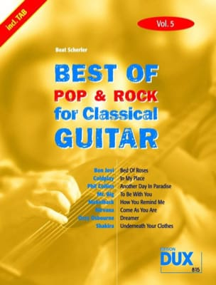 Best of pop & rock for classical guitar volume 5 - laflutedepan.com