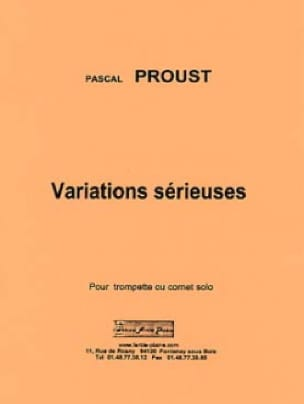 Pascal Proust - Serious variations - Partition - di-arezzo.co.uk