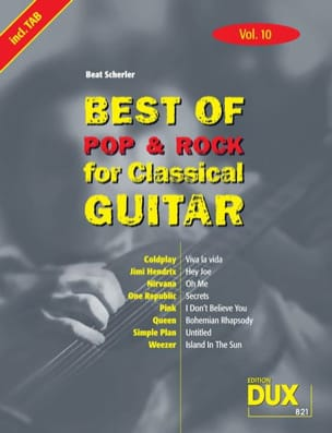 - Best of pop & rock for classical guitar volume 10 - Partition - di-arezzo.fr