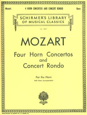 Four Horn Concertos And Concert Rondo MOZART Partition laflutedepan