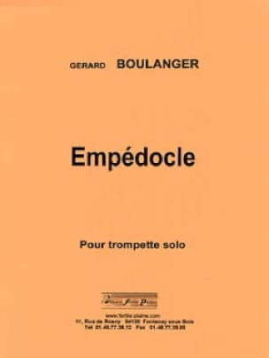 Gérard Boulanger - Empédocle - Partition - di-arezzo.fr