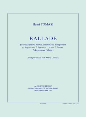 Ballade - Henri Tomasi - Partition - Saxophone - laflutedepan.com