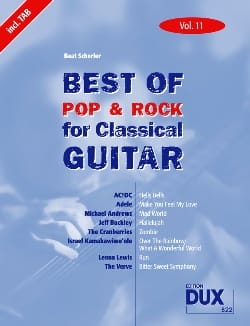 Best of pop & rock for classical guitar volume 11 laflutedepan