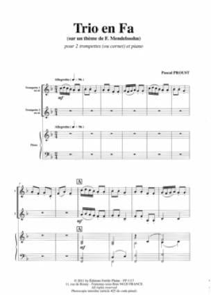 Pascal Proust - Trio en fa majeur - sur un thème de F. Mendelssohn - Partition - di-arezzo.fr