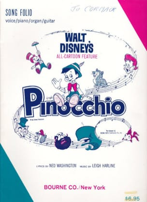 Pinocchio Folio Vocal Selections DISNEY Partition laflutedepan
