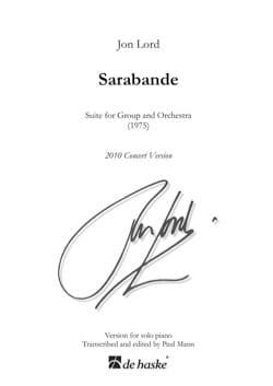 Jon Lord (Deep Purple) - Sarabande - Suite for Group and Orchestra 1975 - Sheet Music - di-arezzo.com