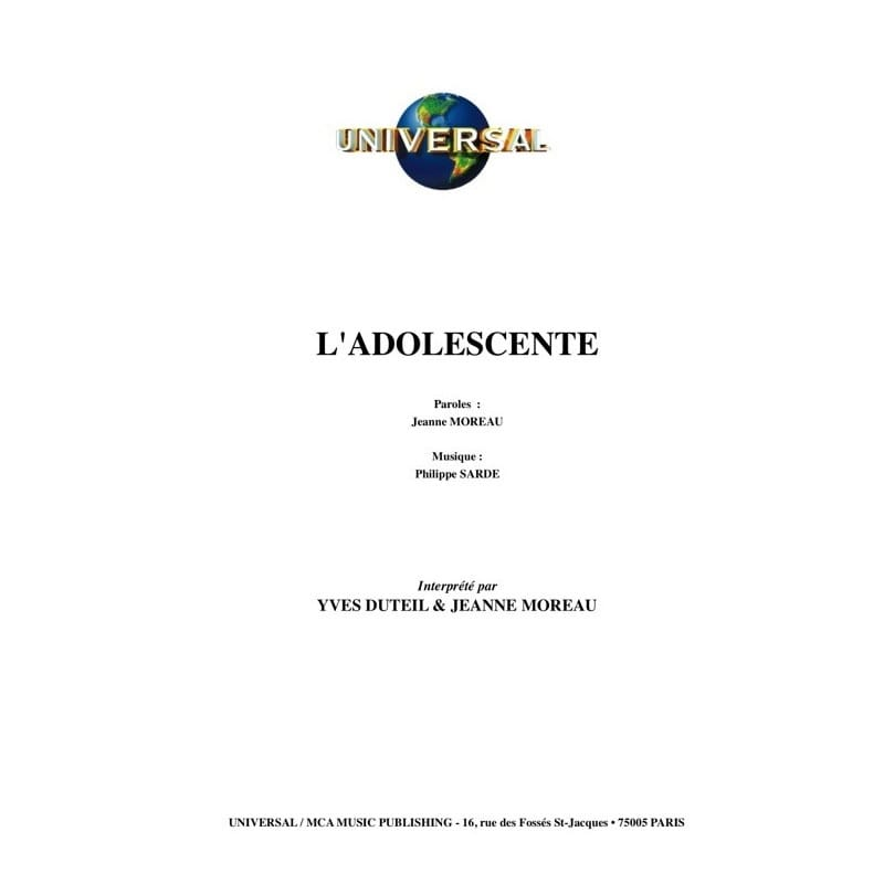 L'adolescente - Musique du Film - Philippe Sarde - laflutedepan.com