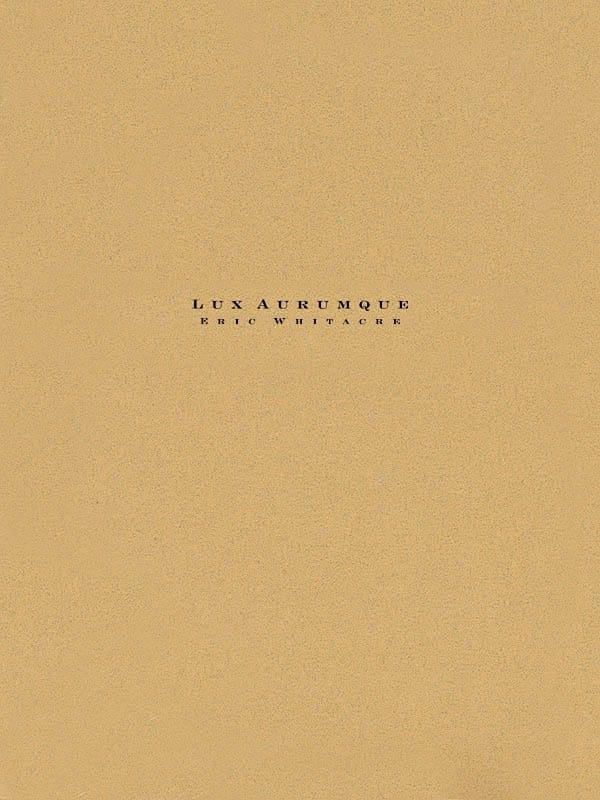 Lux Aurumque - Eric Whitacre - Partition - laflutedepan.com