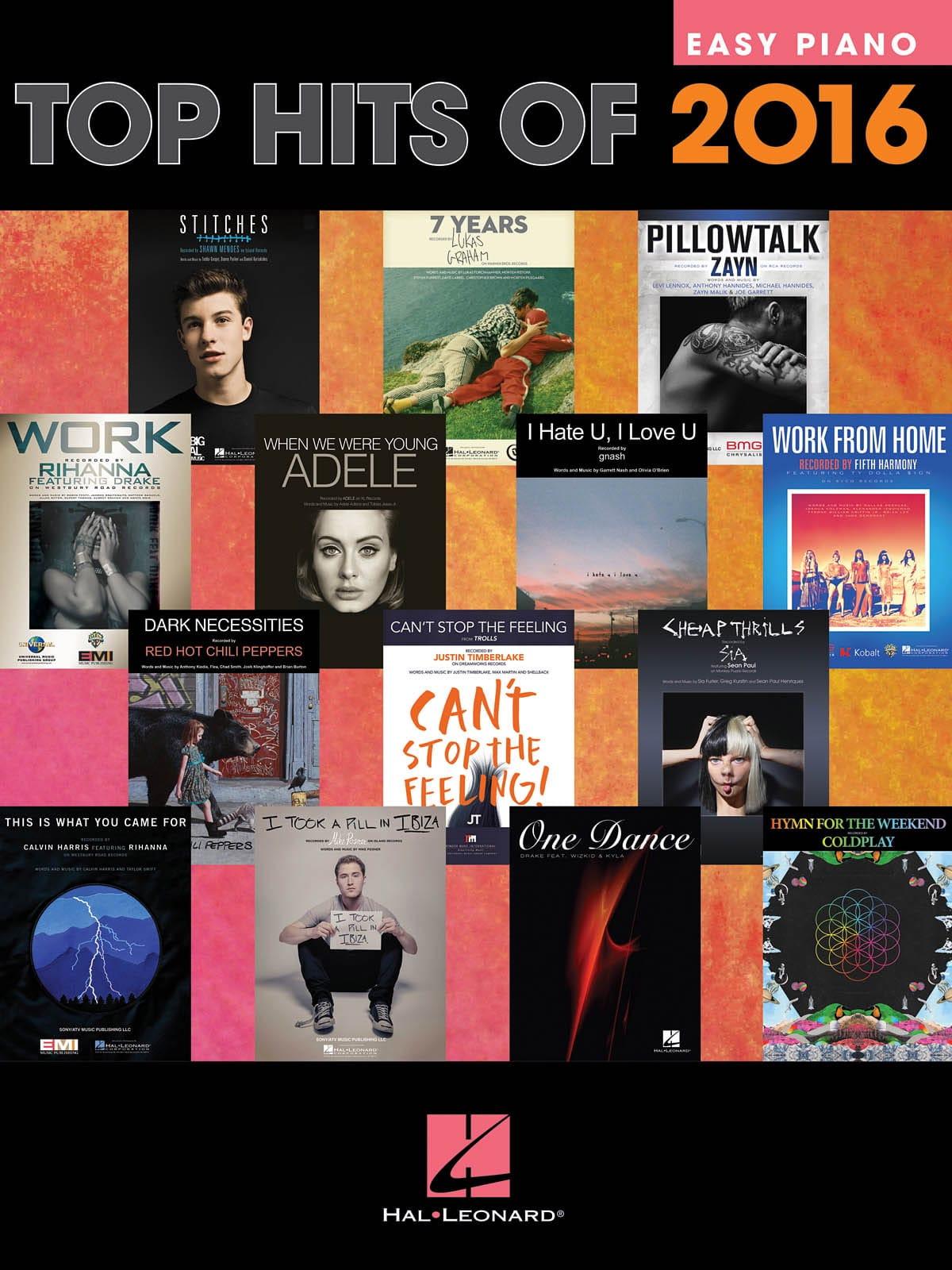 Top Hits Of 2016 - Easy Piano - Partition - laflutedepan.com