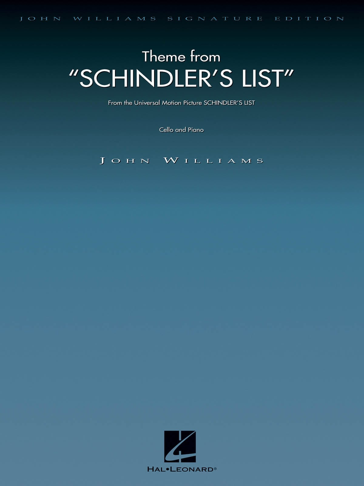 John Williams - Schindler's List - Cello - Partition - di-arezzo.co.uk